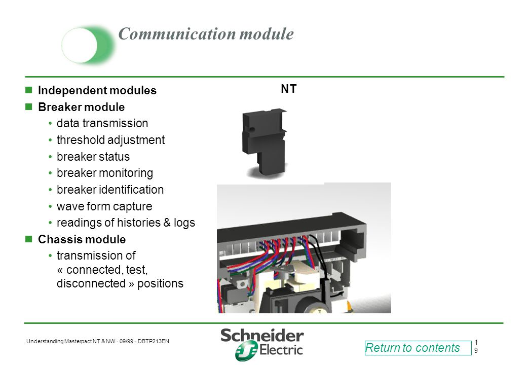 Communication module NT Independent modules Breaker module