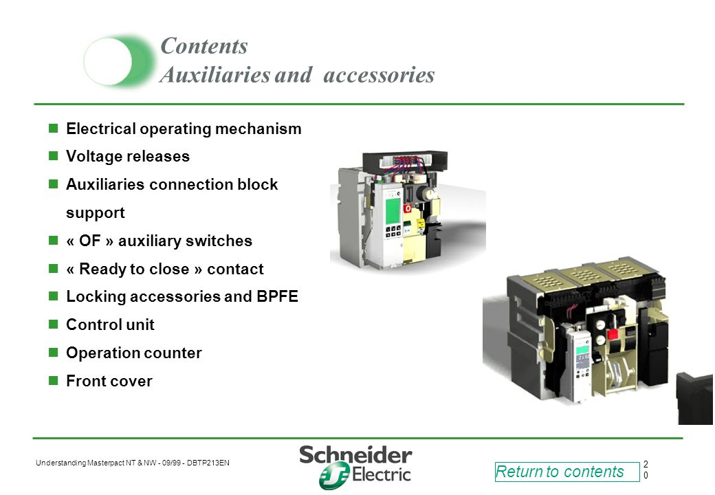 Contents Auxiliaries and accessories