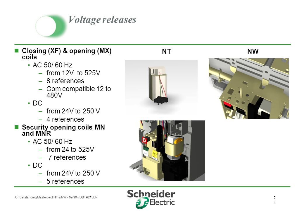 Voltage releases Closing (XF) & opening (MX) coils AC 50/ 60 Hz