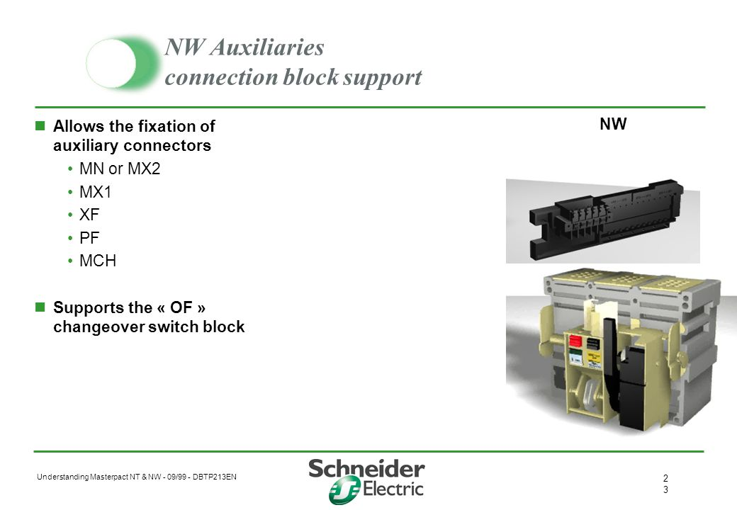 NW Auxiliaries connection block support