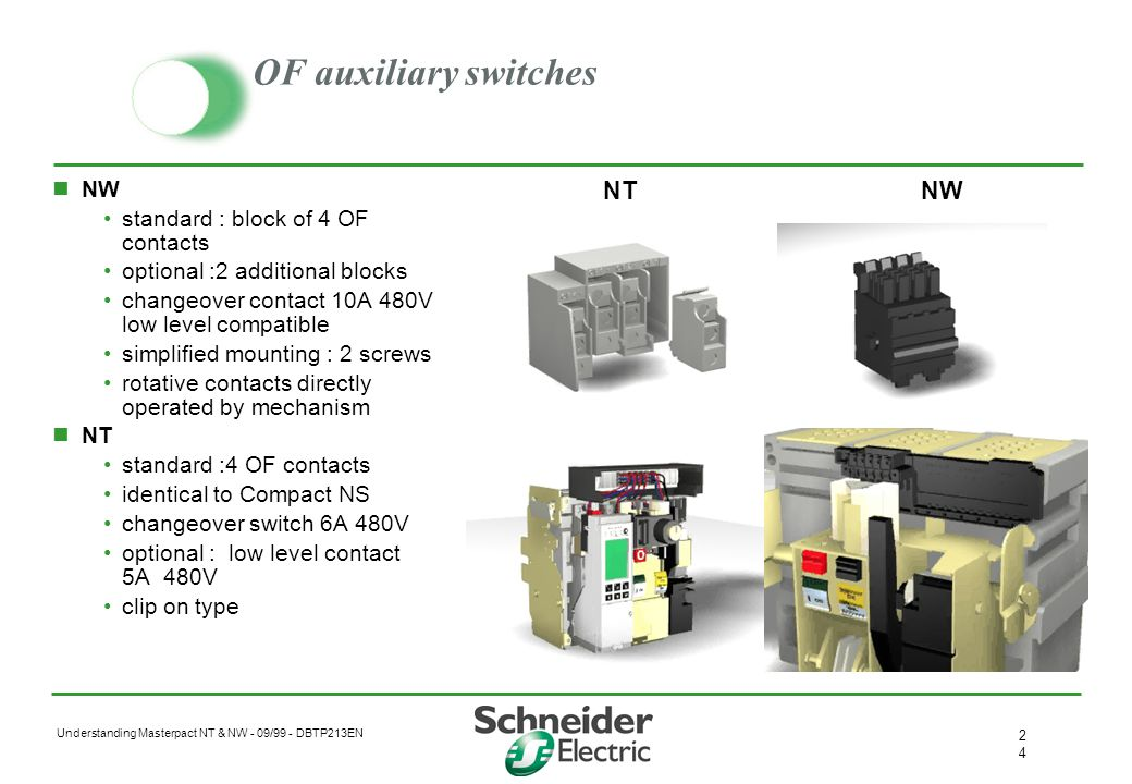 OF auxiliary switches NT NW NW standard : block of 4 OF contacts