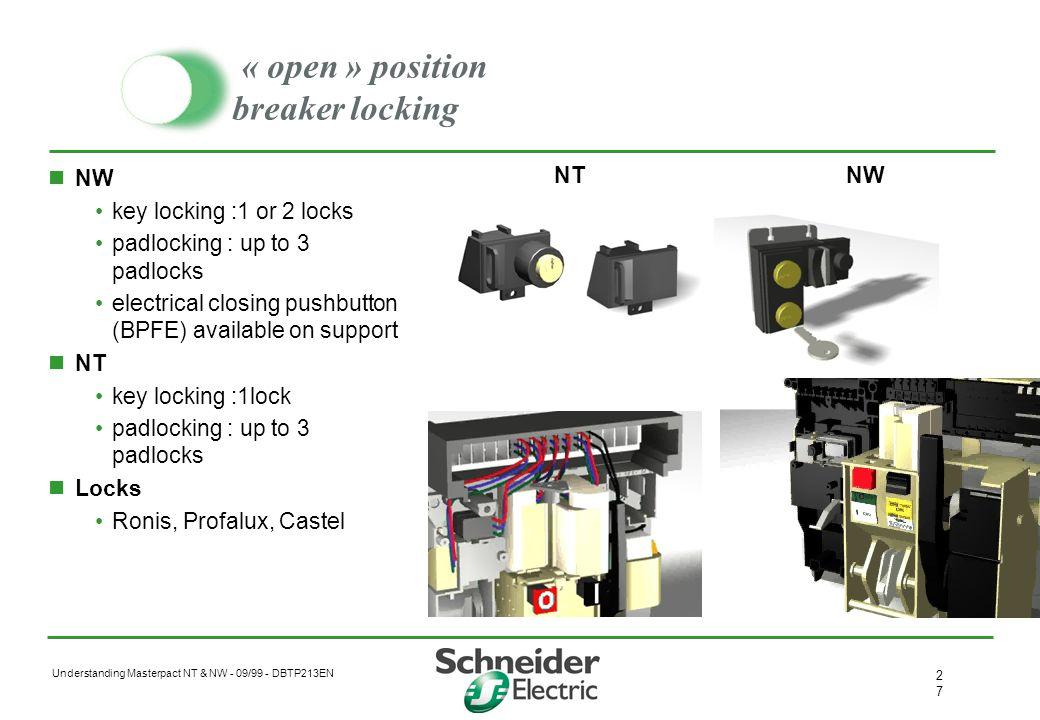 « open » position breaker locking