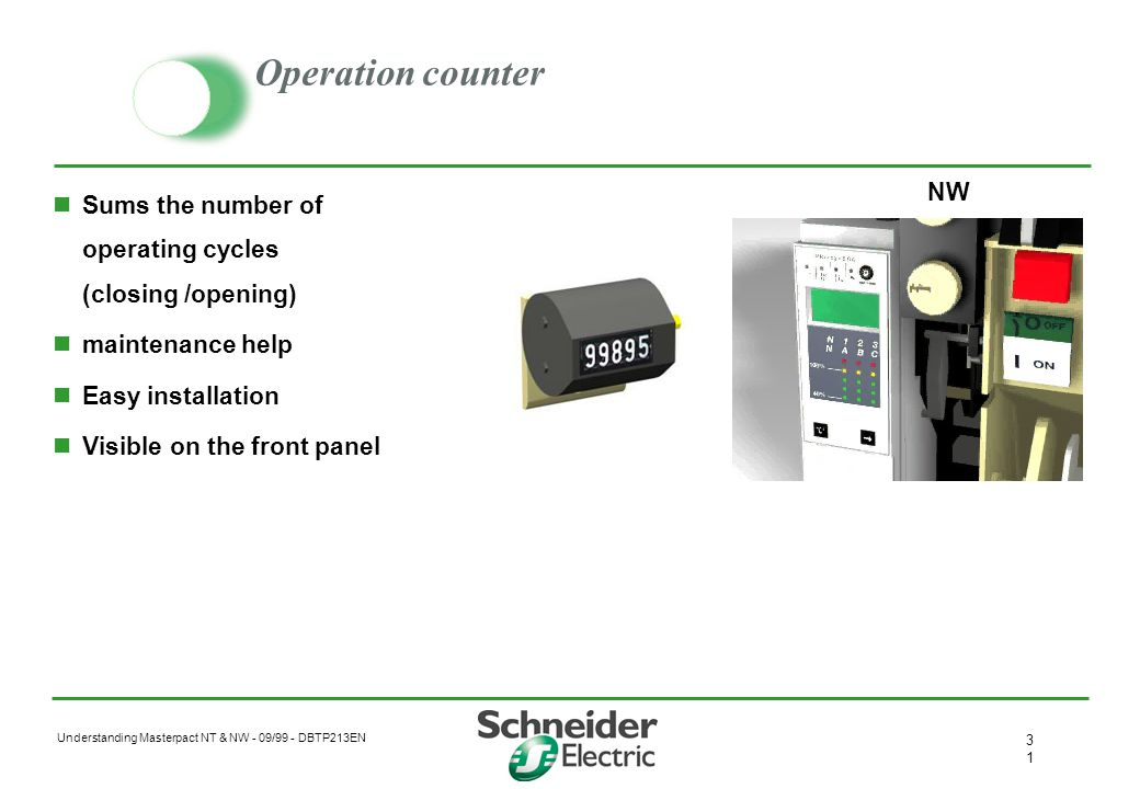 Operation counter Sums the number of operating cycles (closing /opening) maintenance help. Easy installation.