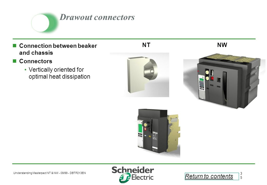 Drawout connectors Connection between beaker and chassis Connectors