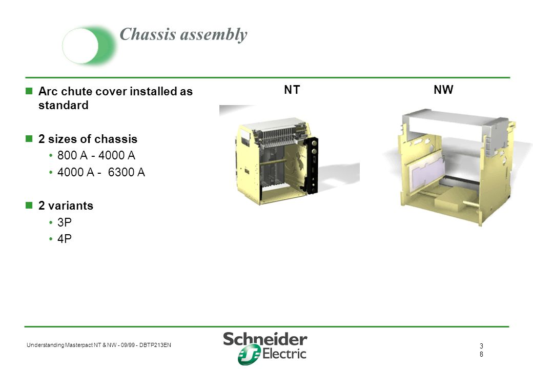 Chassis assembly Arc chute cover installed as standard
