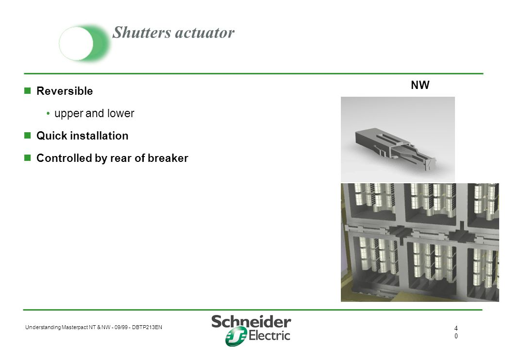 Shutters actuator NW Reversible upper and lower Quick installation