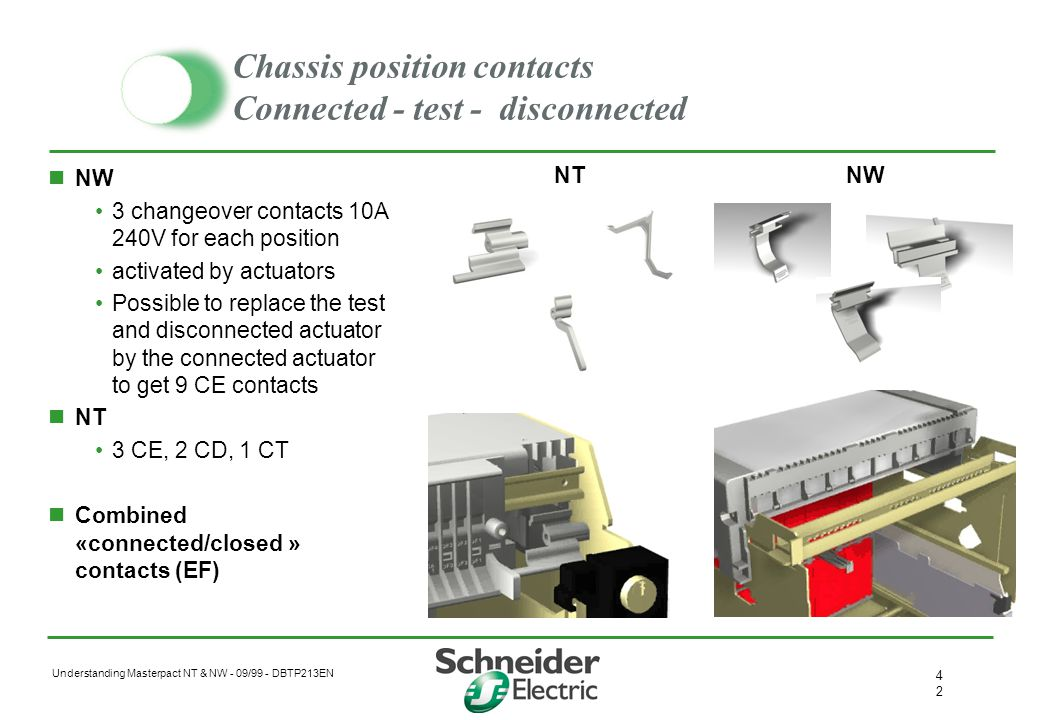 Chassis position contacts Connected - test - disconnected