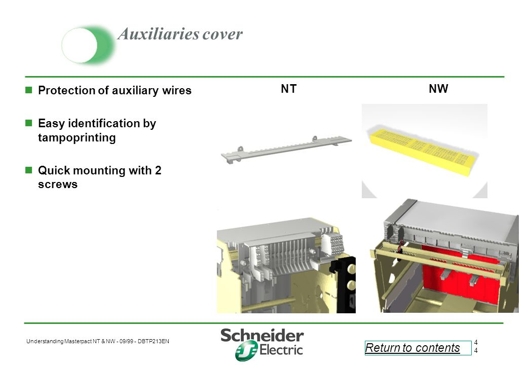 Auxiliaries cover Protection of auxiliary wires
