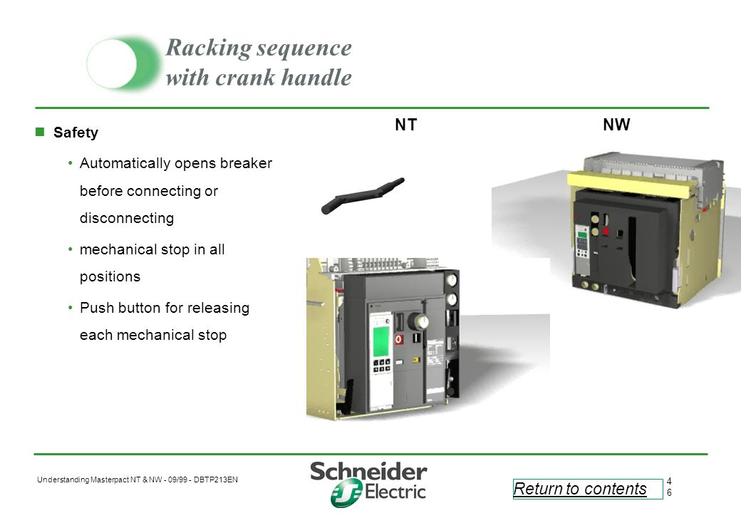 Racking sequence with crank handle