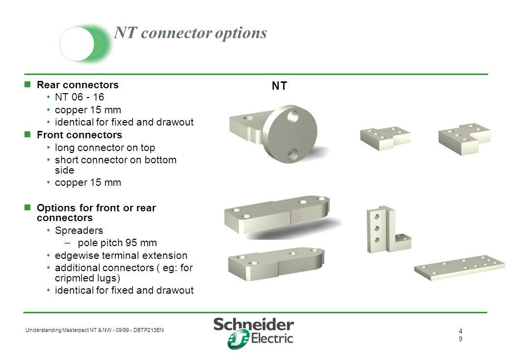 NT connector options NT Rear connectors NT 06 - 16 copper 15 mm