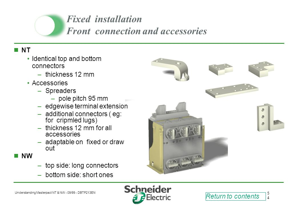 Fixed installation Front connection and accessories