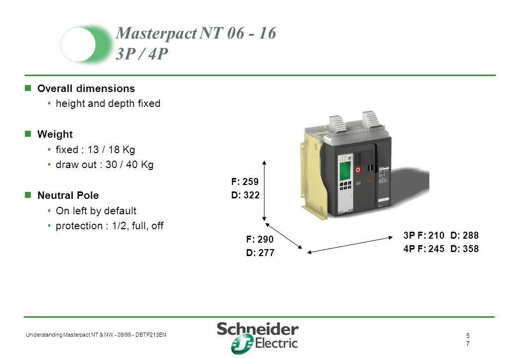 Masterpact NT 06 - 16 3P / 4P Overall dimensions