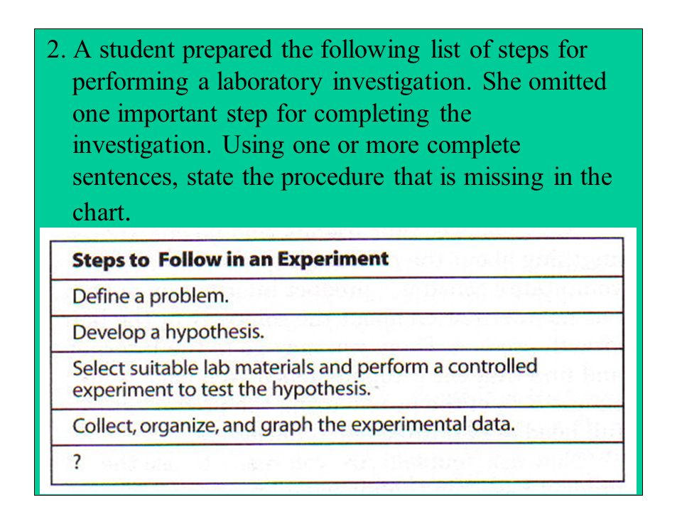 2. A student prepared the following list of steps for performing a laboratory investigation.
