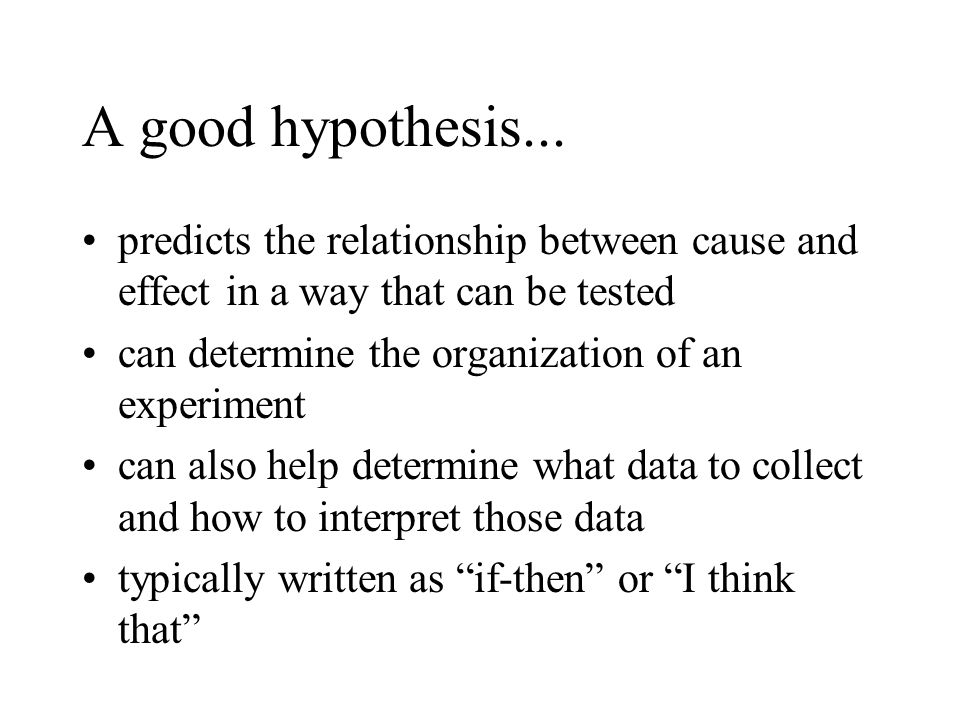 A good hypothesis... predicts the relationship between cause and effect in a way that can be tested.