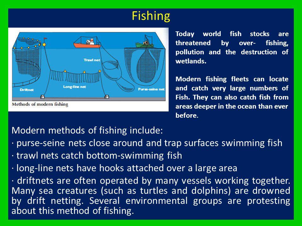 Fishing Modern methods of fishing include: