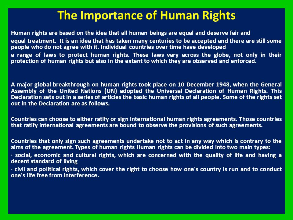 The Importance of Human Rights