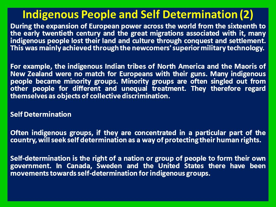 Indigenous People and Self Determination (2)