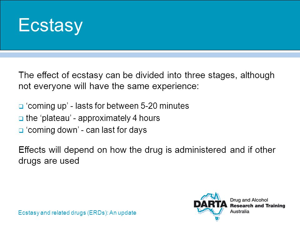 Ecstasy The effect of ecstasy can be divided into three stages, although not everyone will have the same experience:
