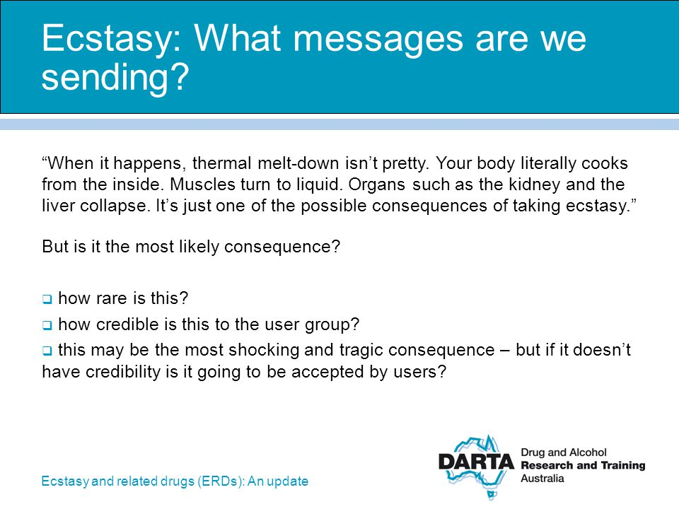 Ecstasy: What messages are we sending