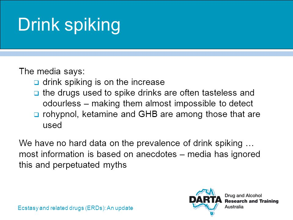 Drink spiking The media says: drink spiking is on the increase