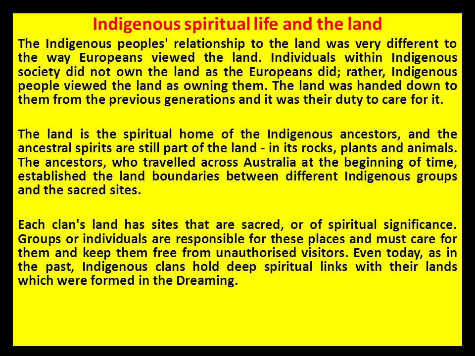 Indigenous spiritual life and the land