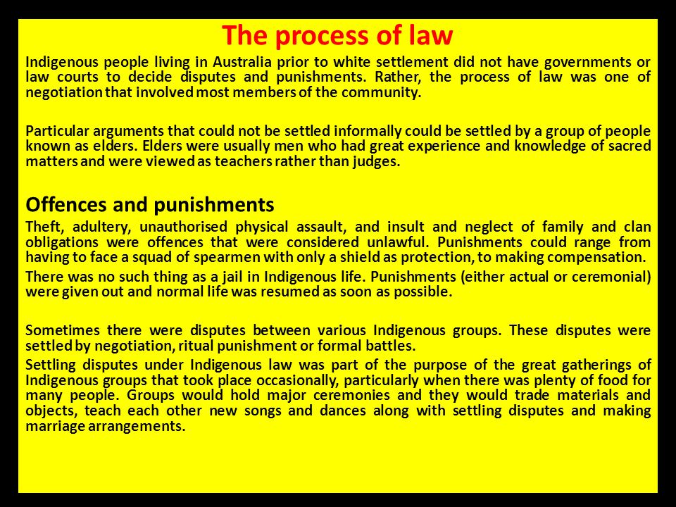 The process of law Offences and punishments