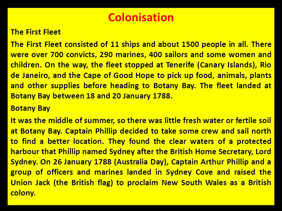 Colonisation The First Fleet