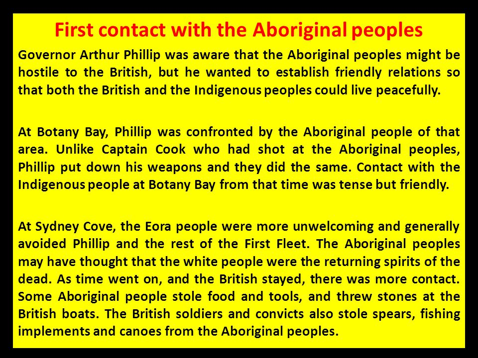 First contact with the Aboriginal peoples