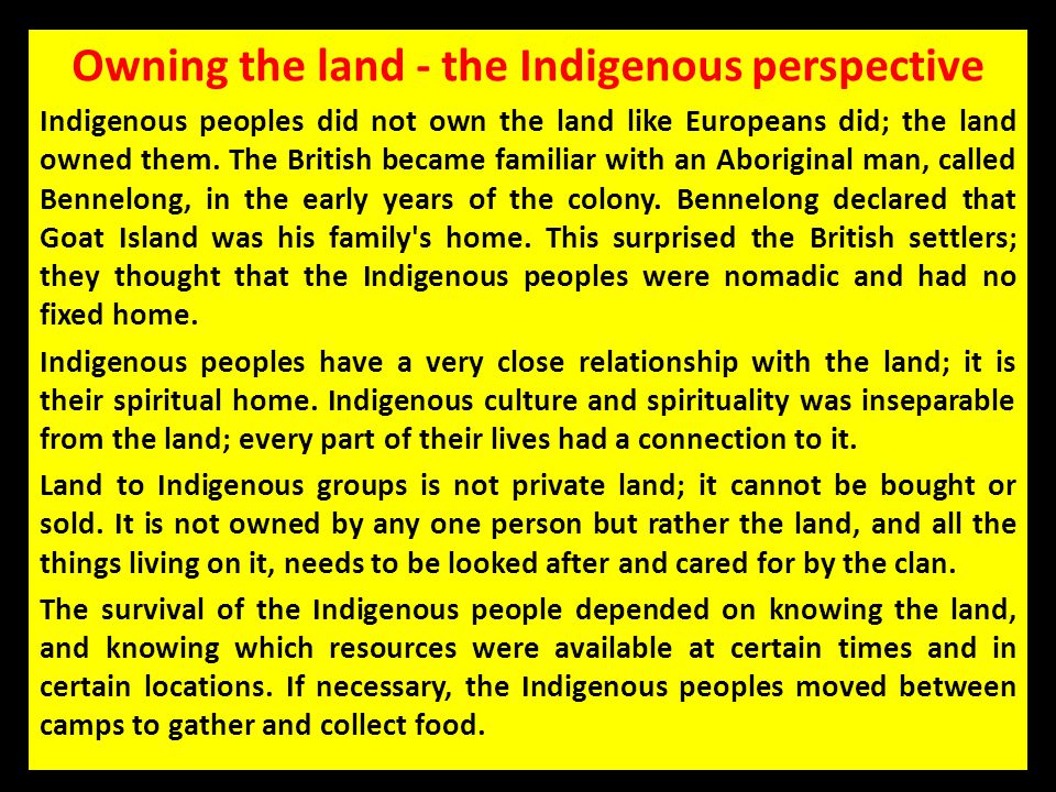 Owning the land - the Indigenous perspective