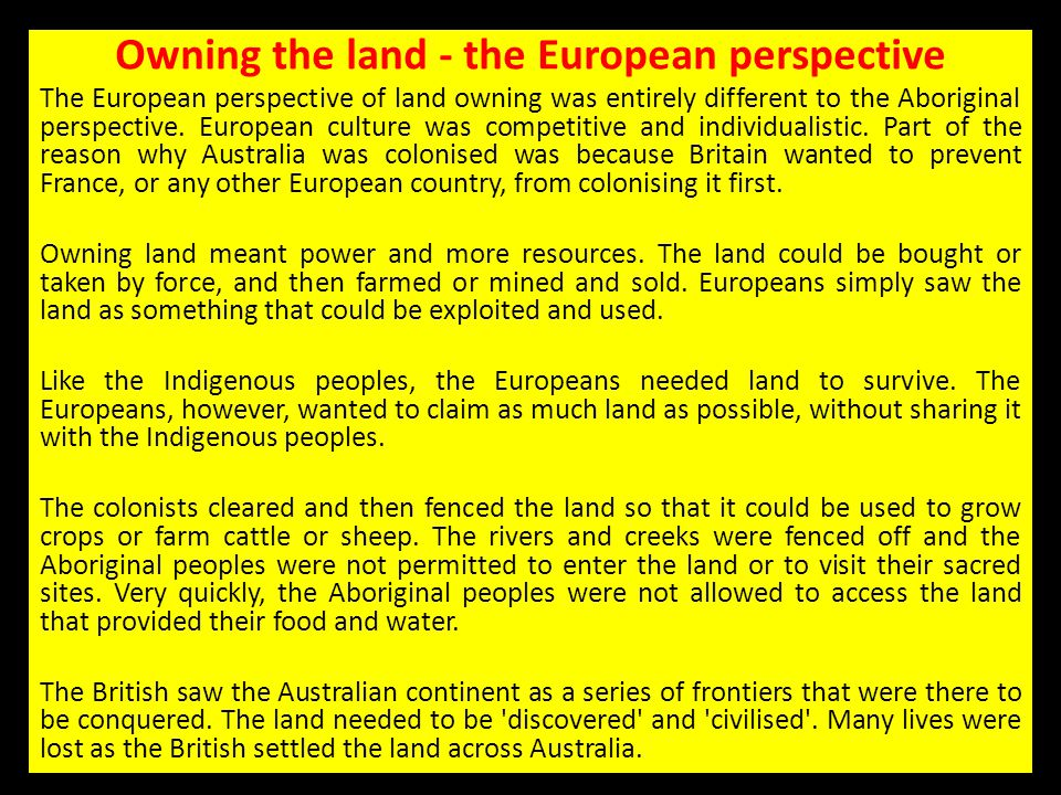 Owning the land - the European perspective
