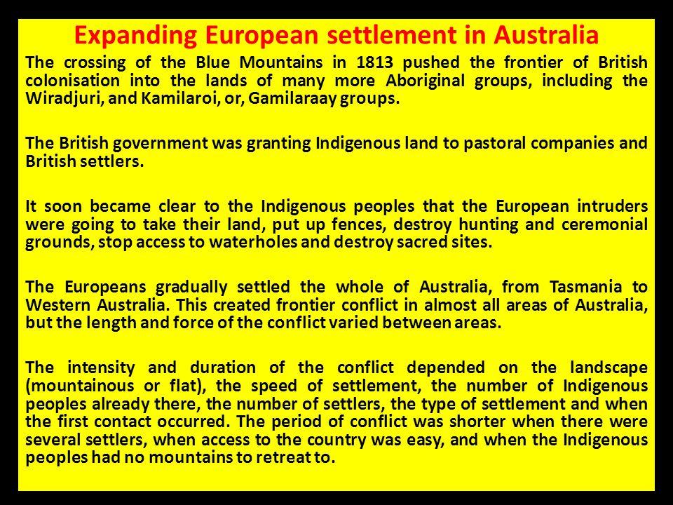 Expanding European settlement in Australia