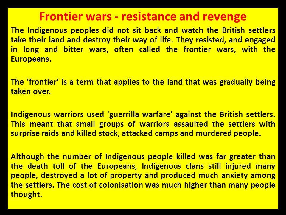 Frontier wars - resistance and revenge