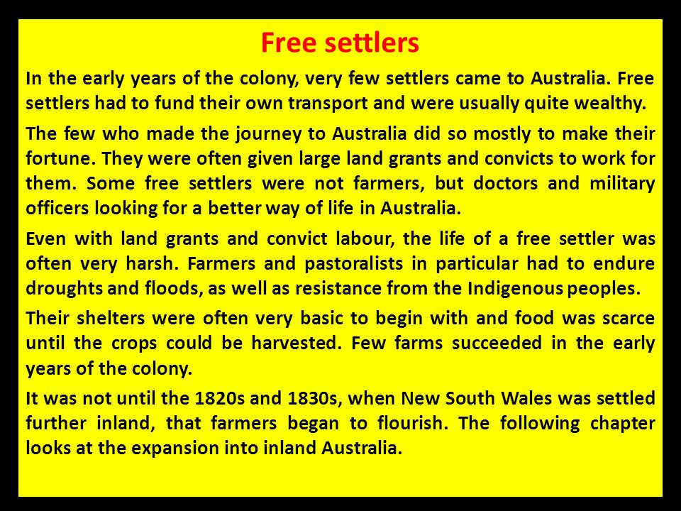Free settlers