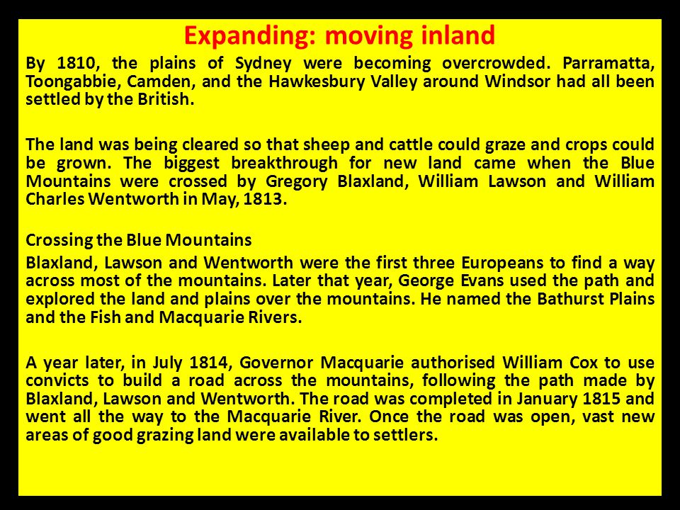 Expanding: moving inland