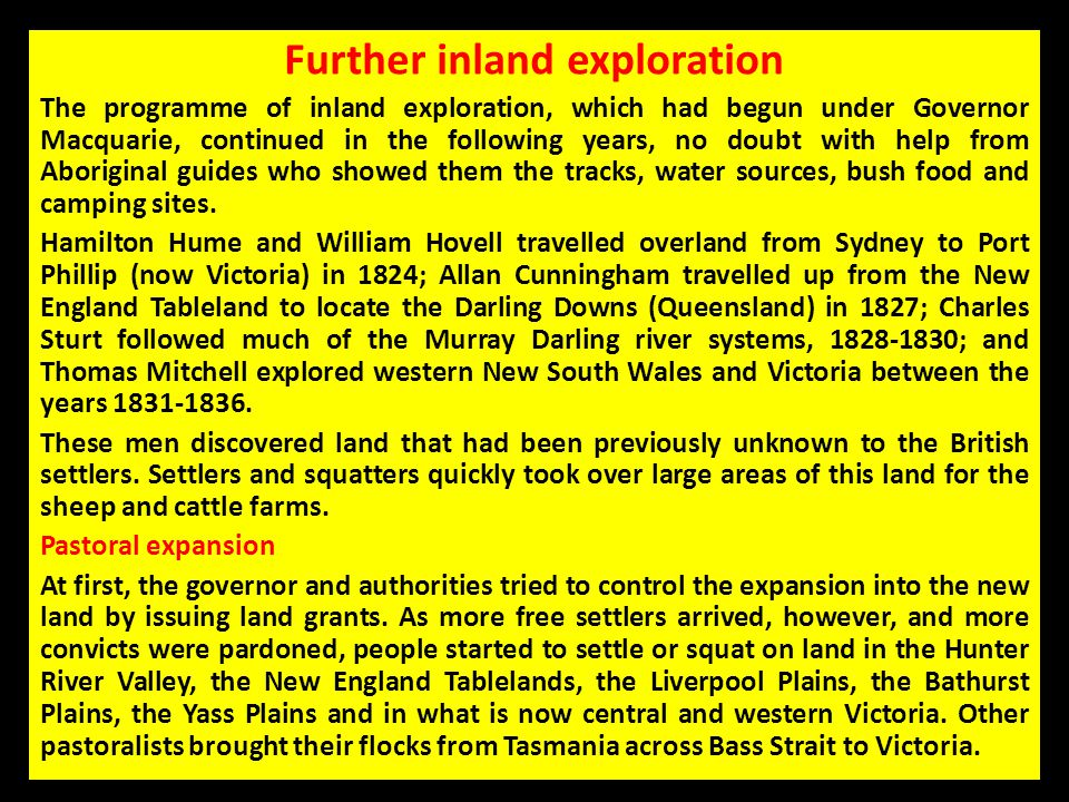 Further inland exploration