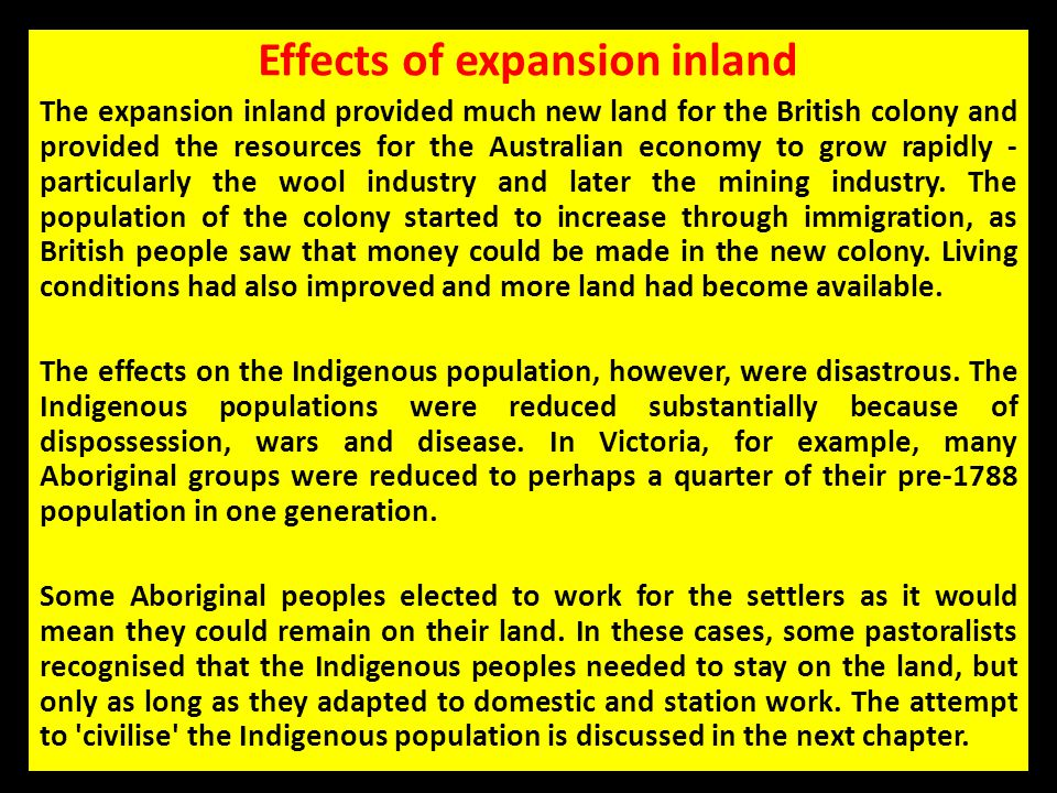 Effects of expansion inland