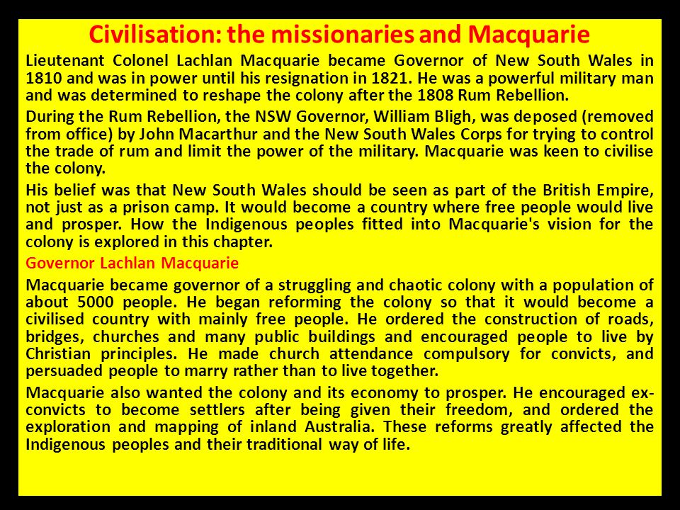 Civilisation: the missionaries and Macquarie
