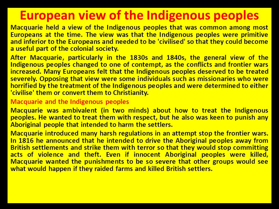 European view of the Indigenous peoples