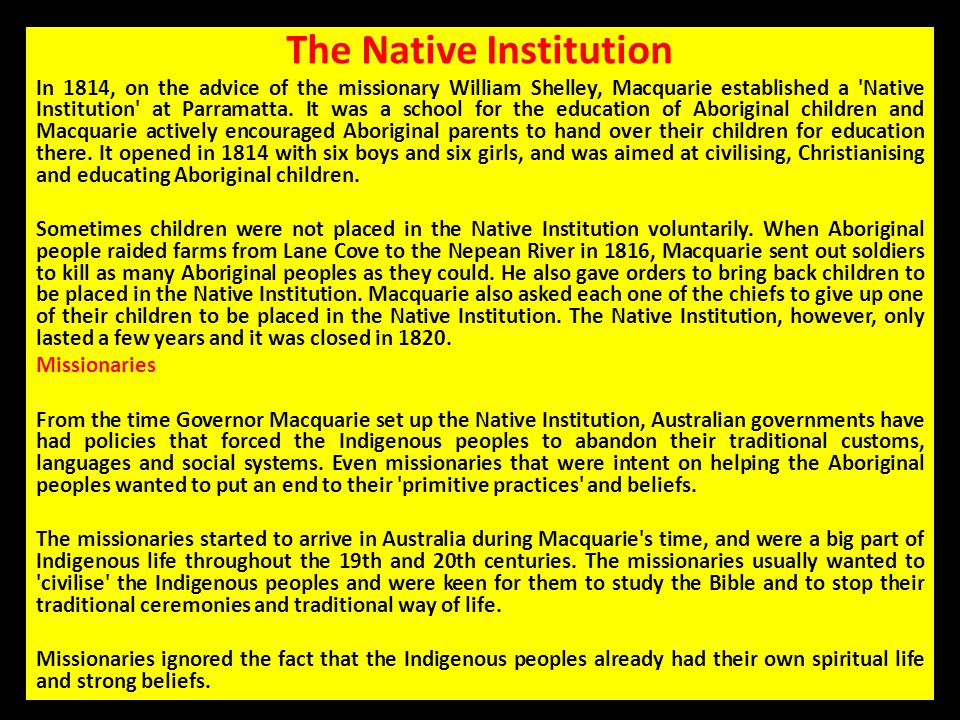 The Native Institution