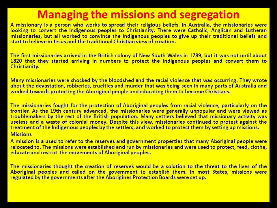 Managing the missions and segregation