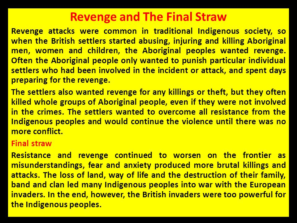 Revenge and The Final Straw
