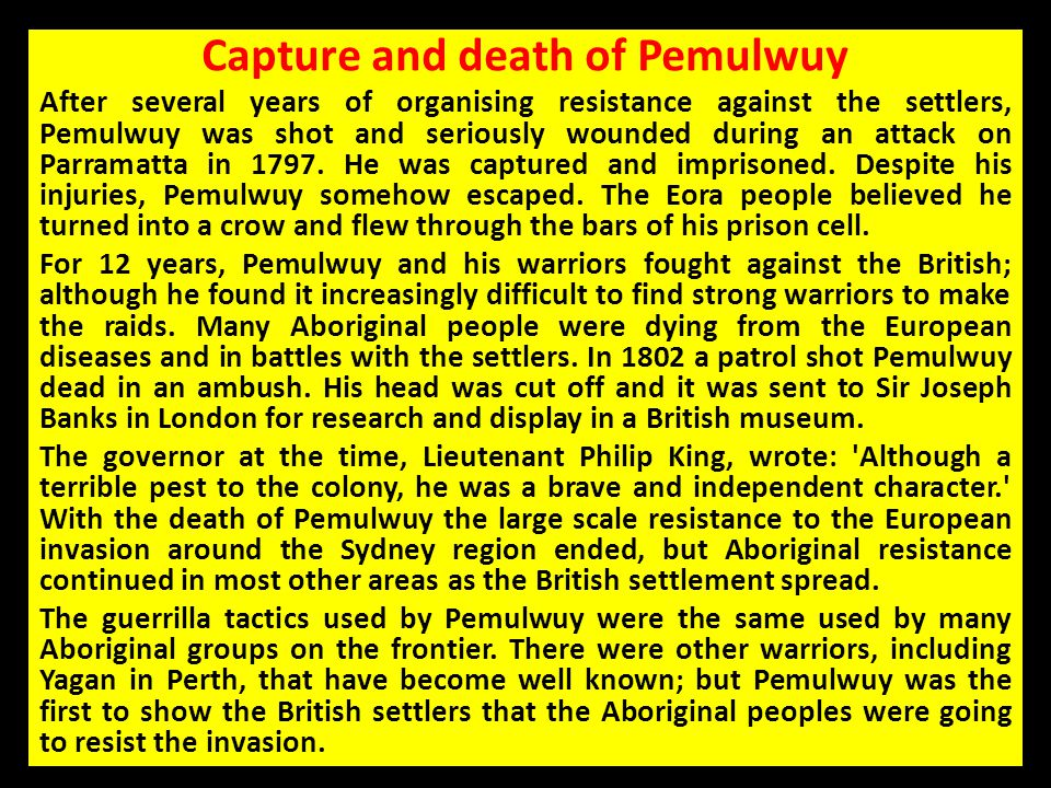 Capture and death of Pemulwuy