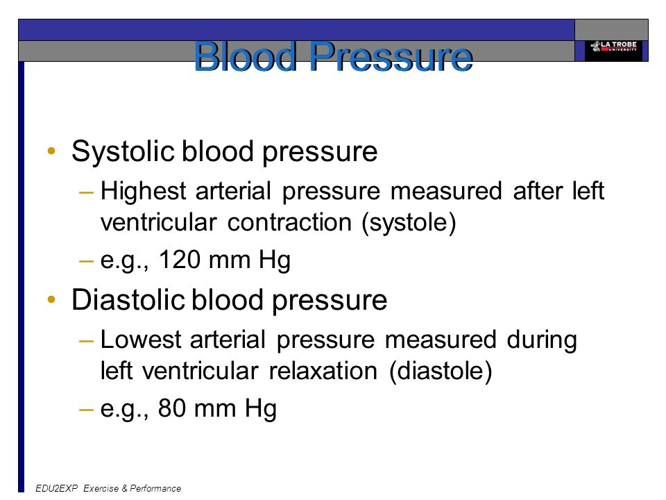 Blood Pressure Systolic blood pressure Diastolic blood pressure