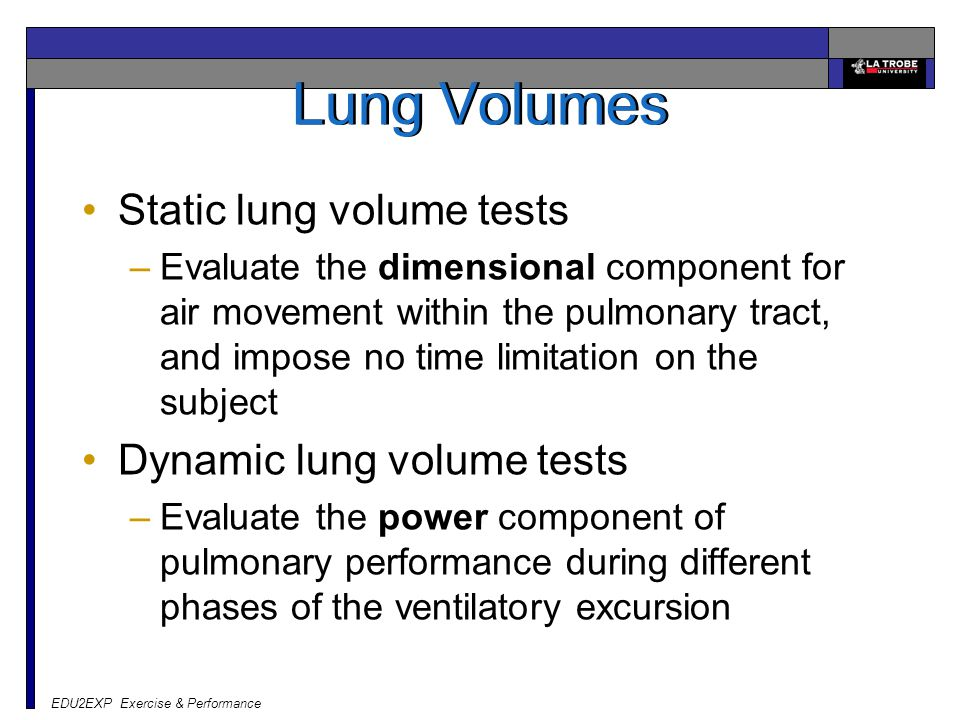 Lung Volumes Static lung volume tests Dynamic lung volume tests