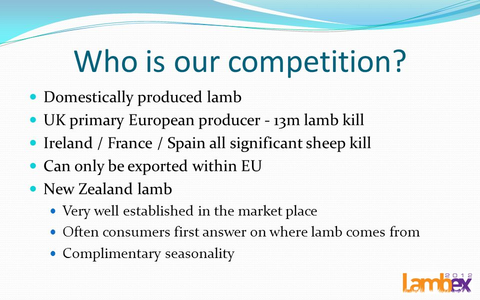 Who is our competition Domestically produced lamb