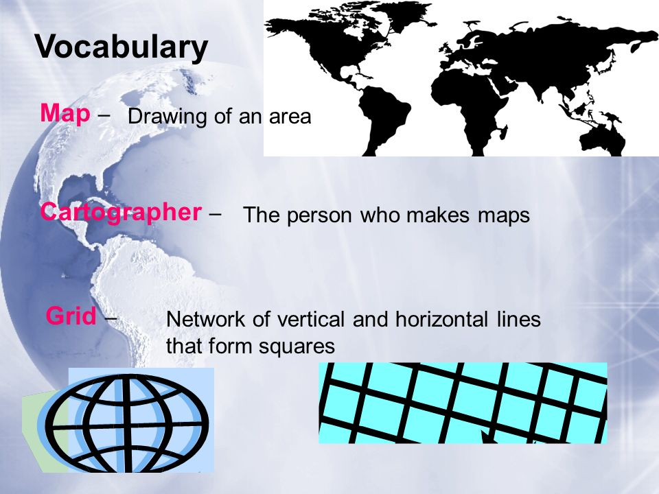 Vocabulary Map – Cartographer – Grid – Drawing of an area