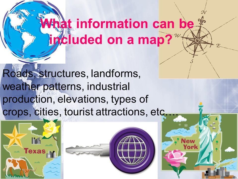 What information can be included on a map