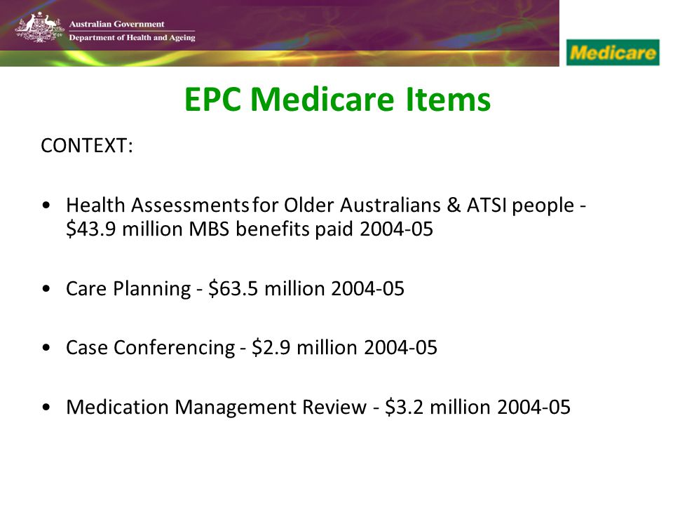 EPC Medicare Items CONTEXT: