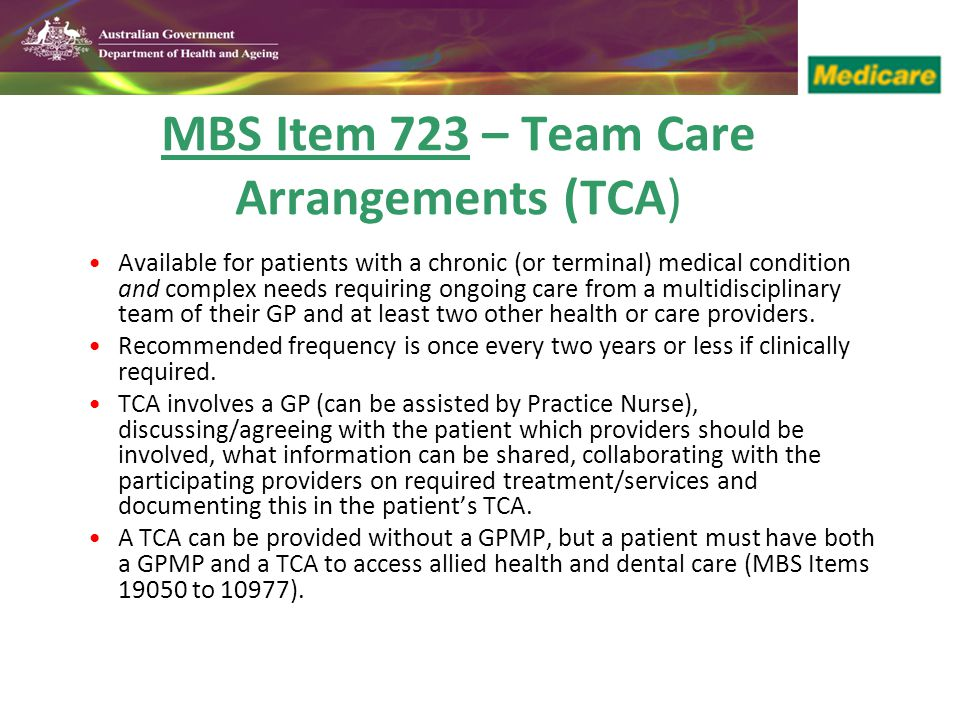 MBS Item 723 – Team Care Arrangements (TCA)