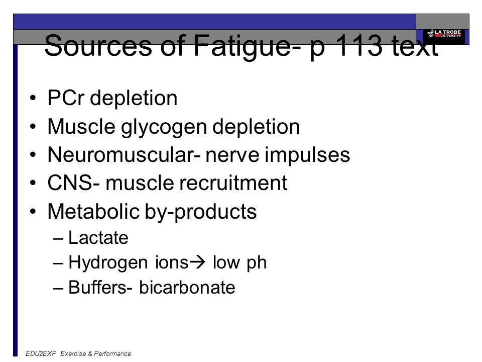 Sources of Fatigue- p 113 text